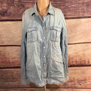 J Crew Shirt Women's Size 4 Blue Jean Look Button